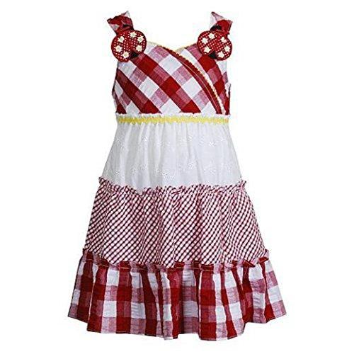 Youngland Mädchen Sommer Kleid mit Siber Glanzfäden rot weiß Marienkäfer (92) - Youngland Outfits Für Mädchen
