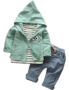 Hirolan 3 Stück Outfits Kleinkind Kind Bekleidungssets Baby Mädchen Jungen Streifen T-Shirt + Kapuzenpullover...