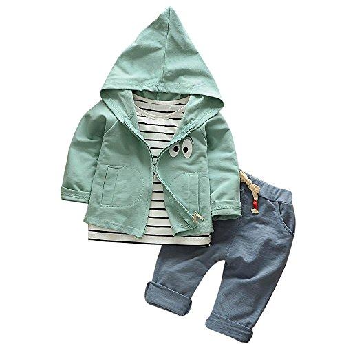 Hirolan 3 Stück Outfits Kleinkind Kind Bekleidungssets Baby Mädchen Jungen Streifen T-Shirt + Kapuzenpullover Mantel + Hosen Kleider Kinderkleidung Babyausstattung (Grün, 80) (Kinder Zeigen Shirt)