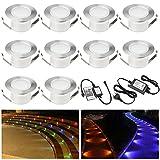 10 Stück RGB LED Einbaustrahler led Bodeneinbauleuchte IP67 wasserdicht 1W Ø47MM led Einbauleuchte Terrasse Küche Garten Led Lampe