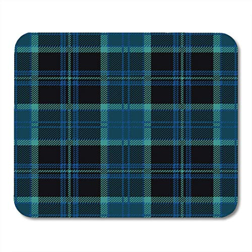 AOHOT Mauspads Black Tartan Plaid Blue Heritage Kilt Pattern Scotland Abstract Mouse pad 9.5