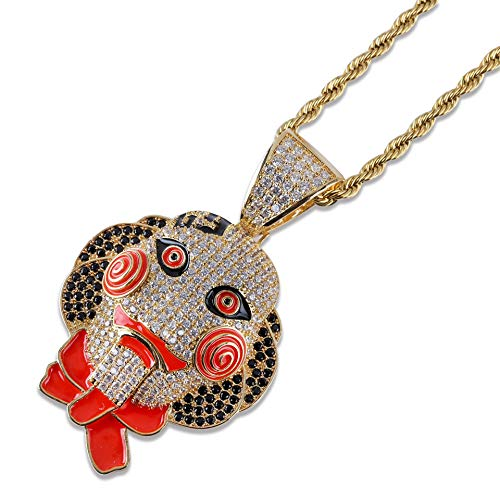 L&H Men Es Hip Hop Halskette Chainsaw Fear Jigsaw Mask Doll Pendant Halloween Full Zircon Fashion ()