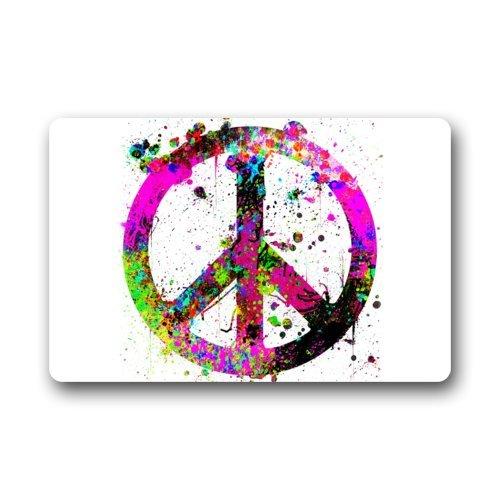 Top Stoff & Rutschfest-Gummi Fußmatte Tür Mats-Colorful Öl Splash World Peace Sign Watercolor Art Fußmatte Teppich für Zuhause/Büro/Schlafzimmer (Zeichen World Peace)