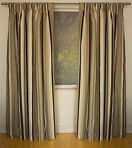 Mali natürliches Baumwollgemisch gefüttert 66x90 gestreift plissiert Curtains # rtsrev HC