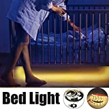LEBRIGHT Luz de cama activada por movimiento,LED cama tira luz 1.5m flexible tira de LED Sensor de movimiento nocturno cama lámpara retroiluminación Kit luz decorativa blanco cálido lámpara de cabecera(Blanco Cálido 3000k)