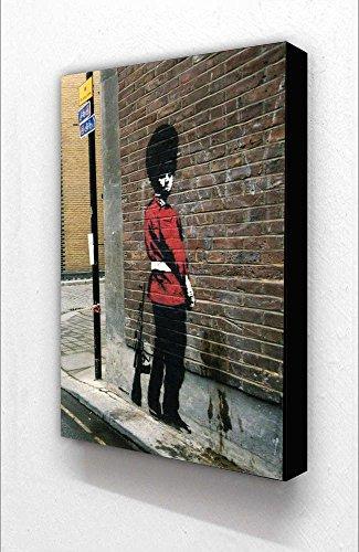 Banksy Queen 's Guard Vertikal Farbe 15,2x 10,2cm Postkarte Größe Holzblock Drucken