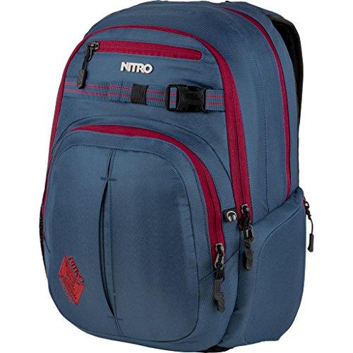 Nitro Chase Rucksack, Schulrucksack mit Organizer, Schoolbag, Daypack mit 17 Zoll Laptopfach,  Blue Steel