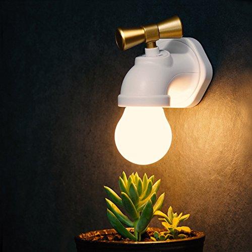 Zantec Chambre à coucher WC Nuit lampe fantaisie en forme de robinet Commande vocale lumière de nuit USB rechargeable antique robinet Applique murale à LED
