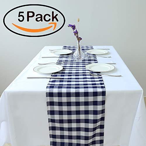 zdada 12x 274cm rot und weiß Polyester Karo Tischläufer Banquet Picknick Home, Einfarbig, Polyester Tisch Linien 12x108'' Marineblau & Weiß