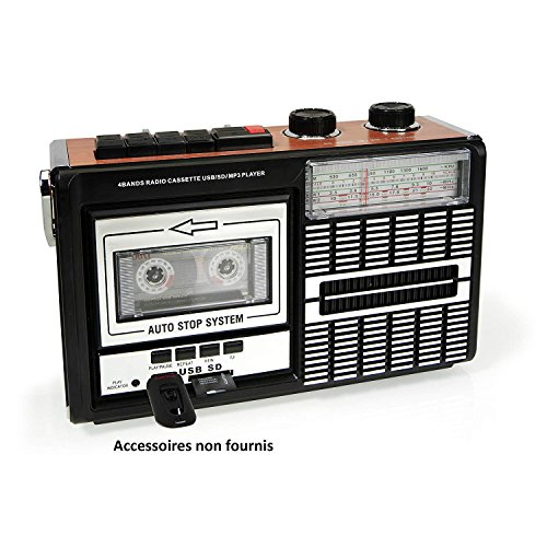 Ricatech PR85 - Back to the 80s - Reproductor y grabador de casetes | Radio AM/FM/SW, ranura USB, tarjeta SD y micrófono integrado