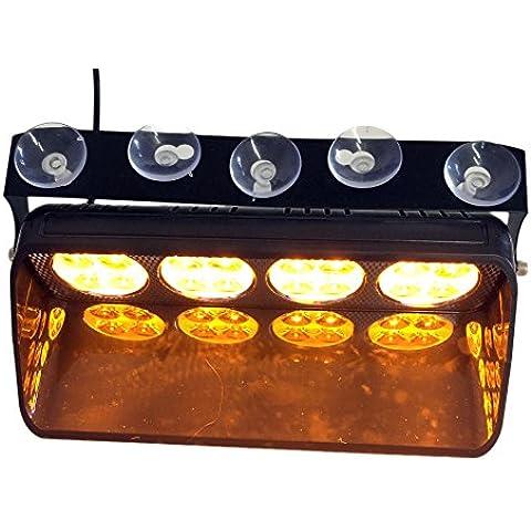 T Tocas 16 LED de alta intensidad LED Cumplimiento de la Ley de las luces de emergencia para el carro del coche SUV interior del techo / Dash / parabrisas con ventosas, DC12V, 16 modos que destellan (ámbar)
