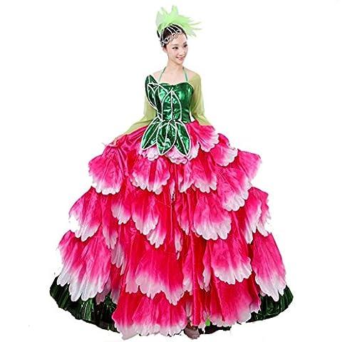 Wgwioo stade classique femmes nationales robe de flamenco jupe costumes de performance ouverture de danse floraison florissante big swing chorus modern two wear , picture color , xxl