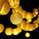 Solar Lichterkette 30 LEDs 6 Meter Solarbetrieben Lampions Laterne Lichterkette Wasserfest Weihnachten Dekoration für Garten, Terrasse, Penthouse Haus, Outdoor, Party, Hochzeit, Hof, Feiern - Warmweiß Lunlight [Energieklasse A+++]