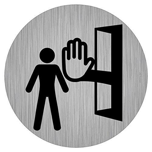 Türschild Aufkleber - Privat, Raum nicht betreten, Zutritt verboten, 9,5cm Ø, rund, Edelstahl-Optik