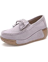 Mujer Mocasines de Cuero Gamuza Zapatos Plataforma de Cuña Moda Loafers Creepers