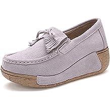 ZQ gyht Zapatos de mujer - Tacón Plano - Punta Redonda - Mocasines - Casual - Semicuero - Negro / Caqui , black-us8 / eu39 / uk6 / cn39 , black-us8 / eu39 / uk6 / cn39