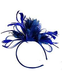 dressfan Diadema Mujeres Banda para el cabello Fascinador Partido Flor Pluma  Tocado f49930b09a7e