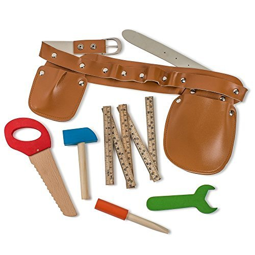 Dress Up America Construction Tool Belt Set mit fünf Holzwerkzeugen Ideal zum Pretend spielen Set umfasstHammer, Falten Lineal, Flachkopfschraubendreher, Schraubenschlüssel, Handsäge und Werkzeuggürtel