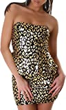 Graffith Damen Bandeau-Kleid Minikleid Glitzer Peplum Schößchen Leopard Leo-Optik Pailletten Party Silvester trägerlos Animal-Print (32/34)