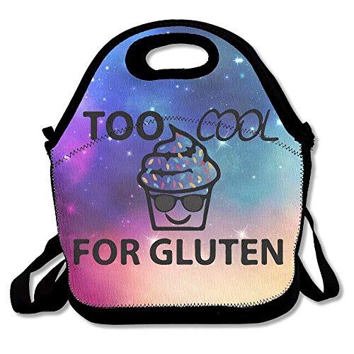 Dozili Too Cool für glutenfreie Cupcake-Sonnenbrille, große und dicke Neopren, isolierte Lunch-Tasche, Kühltasche, warm, mit Schultergurt, für Damen, Teenager, Mädchen, Kinder, Erwachsene