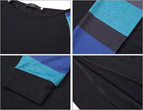Damen Gestreift Pullover Langarm Rundhals T Shirt Herbst Pulli Strickpullover Tops Oberteile Langarmshirt Schwarz & Blau