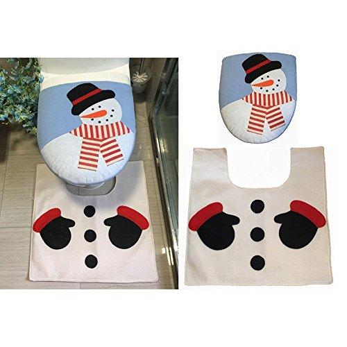 2pezzi Set di Natale, motivo: pupazzo di neve e tappeto set–Pupazzo di neve copriwater con piede Pad rosso decorazione natalizia da bagno.
