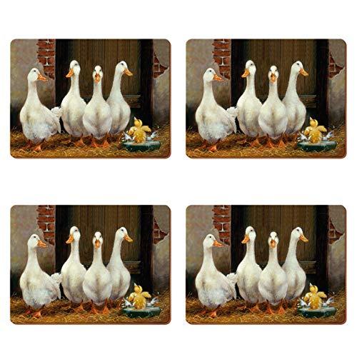 Le Top Ente (CREATIVE TOPS Ente Bad Premium Unterseite aus Kork Platzsets, Holz, braun, groß, 4-teilig)
