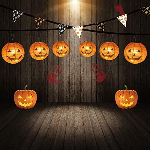 """KESOTO Halloween Lampions Kürbis Set, 10 Stück Hängedekoration für Halloween Party (6""""+ 8""""+10""""+12"""") - 7"""