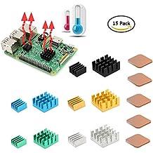 GeeekPi: Raspberry Pie – Disipadores de calor, de cobre y aluminio, juego de 15 disipadores de calor con cinta adhesiva conductiva térmica para Raspberry Pi3B+ y Raspberry Pi3/2 Modelo B