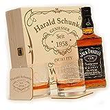 polar-effekt 6-TLG Whisky Geschenk-Set mit Jack Daniels No.7   2 Whiskygläser, 2 Untersetzer und Whiskey Flasche in Geschenk-Box Personalisiert mit Gravur - Motiv Quality Whisky