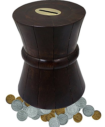 Barril moneda caja hucha alcancía madera hecha mano