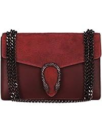 RONDA Umhängetasche Handtasche mit Kette und Schließen von Zubehör metallischen dunklem Nickel, Glatteleder und Wildleder, Hergestellt in Italien