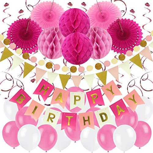 Zerodeco Geburtstag Dekoration, Happy Birthday Banner Wabenbälle und Fächerdekoration Papier Girlande Fächer Dreieckige Wimpel Spiral Girlanden und Luftballon - Rosa, Pink und Weiß