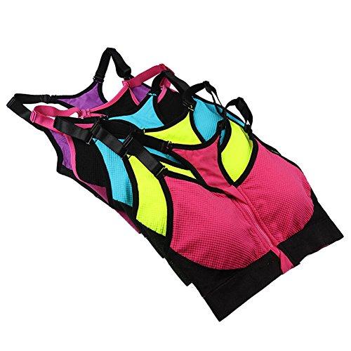 Cliont les courroies sans soutif de sport zipper large impact élevé shapewear haut de jogging - gilet de confort en yoga Noir