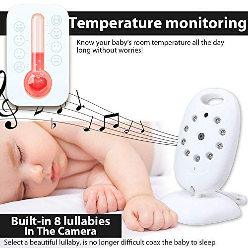 "VB601 2.4G Wireless Baby Video Monitor with Night Vision 2 Way Call 2.0"" LCD Monitor Baby Lullaby Temperature Monitoring Wireless Monitor and Camera Temperature Monitoring"