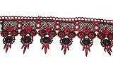 Schwarz und Rot gewelltem Choker Spitze Halskette Uni Collier klassisch handbemalt verziert Glitzer