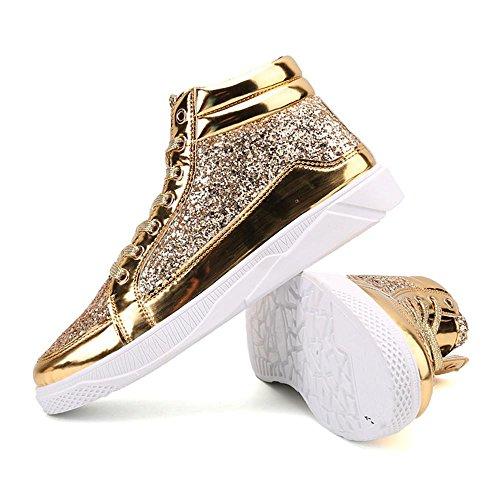 Scarpe da skateboard scarpe sportive Scarpe da corsa maschi impermeabile della Assorbimento degli urti traspirante Sport all'aria aperta Fatto a mano Usura antiscivolo Gold