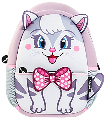 FRINGOO® Girls Boys Toddlers Backpack Cute Insulated Nursery Bag Funny Kids Daypack Travel Rucksack Cartoon Unicorn Neoprene Zipped Pocked (30 x 22 x 9 cm, White & Grey Kitty - Backpack)