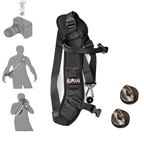 Fomito Focus F-1 Schultergurt Umhängeband, 2 Stück, Befestigung für DSLR SLR Kamera DV, schwarz
