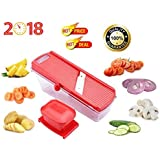 Multipurpose Dry Fruit, Fruit & Vegetable Cutter Slicer With Safety Holder And Container In Red Colour, Manual Stainless Steel Blade Vegetable Cutter And Slicer For Kitchen/Home At Best Quality On Low Price