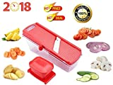 #5: Multipurpose Dry Fruit, Fruit & Vegetable Cutter Slicer with safety holder and Container in Red Colour, Manual Stainless Steel Blade Vegetable Cutter and Slicer For Kitchen/Home at Best Quality on