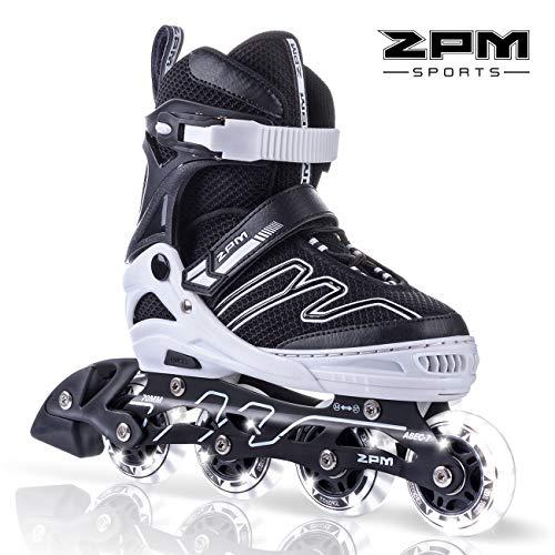 2PM SPORTS Verstellbar Inliner für Kinder, Leucht Inline Skates Rollschuhe für Damen/Herren (Black & White, Large(37-40EU))