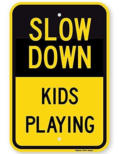 Eugene49Mor Slow Down Kinderschild, 45,7 x 61 cm, 3M, hochintensität, prismatisch reflektierend. Von