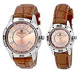 H Timewear Analog Brown Dial Couple Watc...