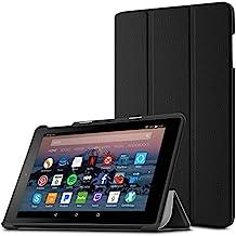 Funda para Nuevo tablet Fire HD 8 2017 / Nuevo Fire HD 8 2016(6ª generación, modelo de 2016), Infiland Ultra Delgada Tri-Fold Case Cover PU Cuero Cascara con Soporte para Nuevo Fire HD 8 2017 (7ª generación) / Nuevo Fire HD 8 2016 (6ª generación)(Negro)
