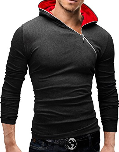 MERISH Langarm Shirt Herren Slim Fit Hoodie Modell 36 Anthrazit/Rot