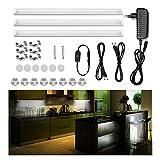 Guaiboshi LED Unterbauleuchte Schrankbeleuchtung Vitrinenbeleuchtung Küchenlampen Dimmbare 12V DC mit Mächtiger Magnete für Schränke, Bücherregale, Kabinette, Küchen usw - 3pcs [Energieklasse A+]