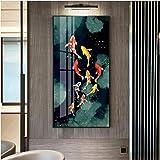 Rjunjie Art Fisch Feng Shui Carpe Lotus Técher Tableau Tableau Tableau Tableau Tableau Tableau Tableau Tableau Décoration Salon Moderne (Cadre Non Inclus)...
