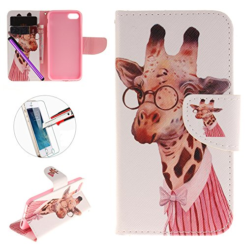 iPhone 7 étui, newstars iPhone 7 Luxueux brillant paillettes Coque [Bling cristal transparent brillant] [Ultra], [slim premium] 3 couche hybride, anti-slick//de protection, étui souple, iPhone 7 case- B-Giraffe glasses