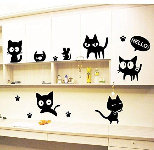 Weaeo Cartoon Schwarze Katze Niedlich DIY Vinyl Wandaufkleber Kinderzimmer Computer Schalter Toilette Home Decor Kunst Decals 3D Wallpaper Dekoration